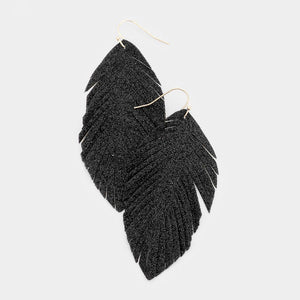 Glitter Feather Earrings - Black