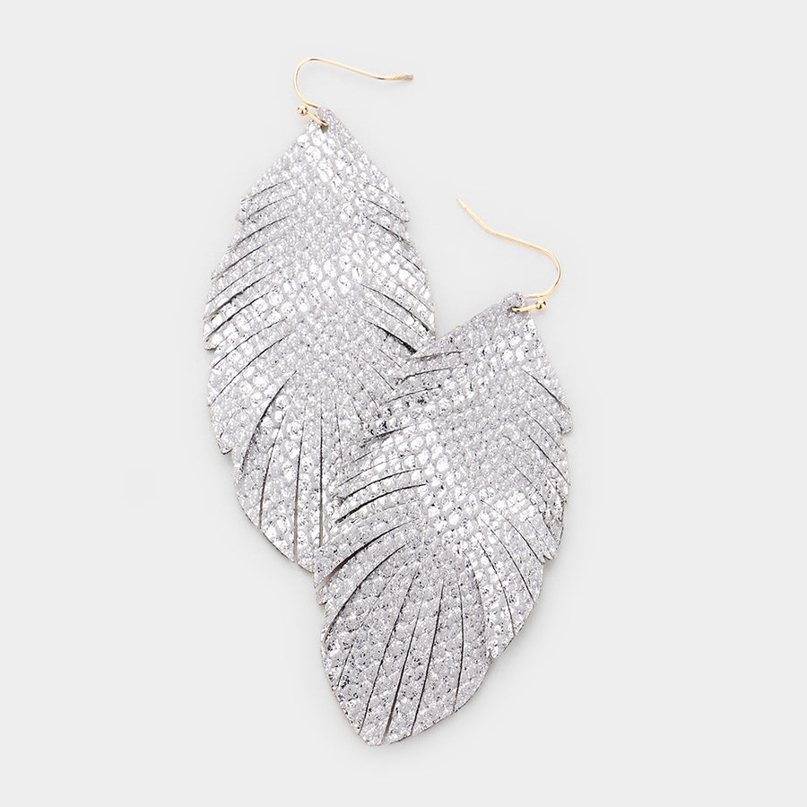 Metallic Leather Feather Earrings - Silver Reptile