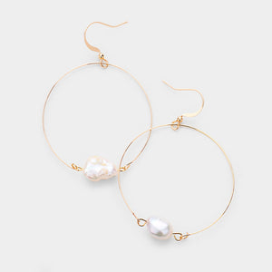 Fresh Hooped Pearls Earrings - Gold