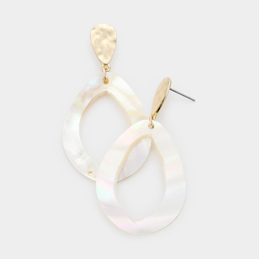 Wave Rider Shell Dangle Earrings - Mother of Pearl