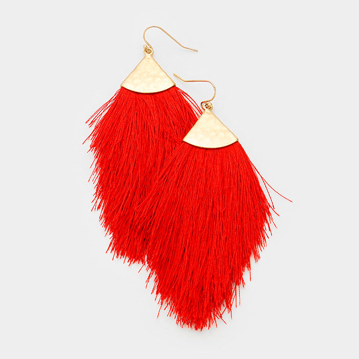 Taken By Surprise Tassel Earrings - Red