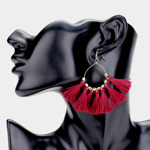 Above the Rest Tassel Statement Earrings - Burgundy
