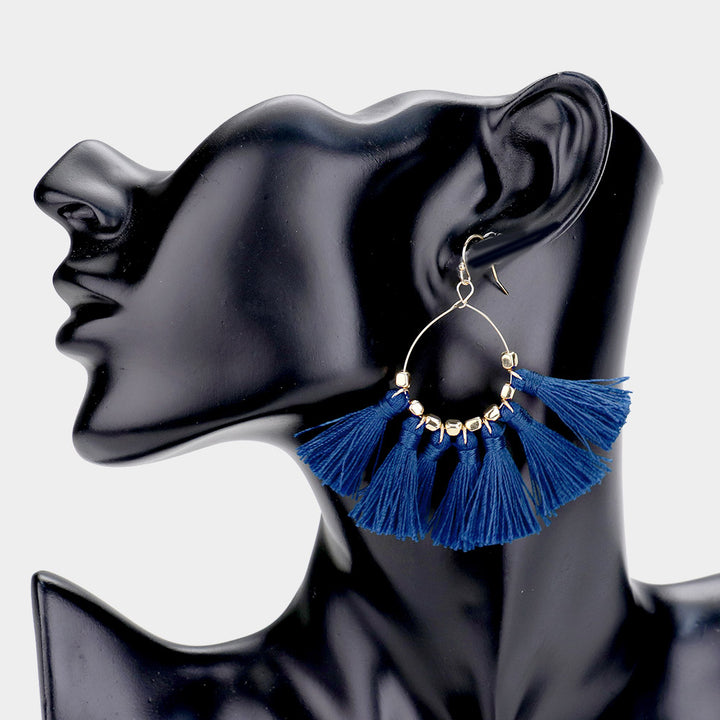 Above the Rest Tassel Statement Earrings - Navy