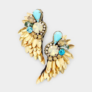 Crystal Wings Statement Earrings - Antique Gold