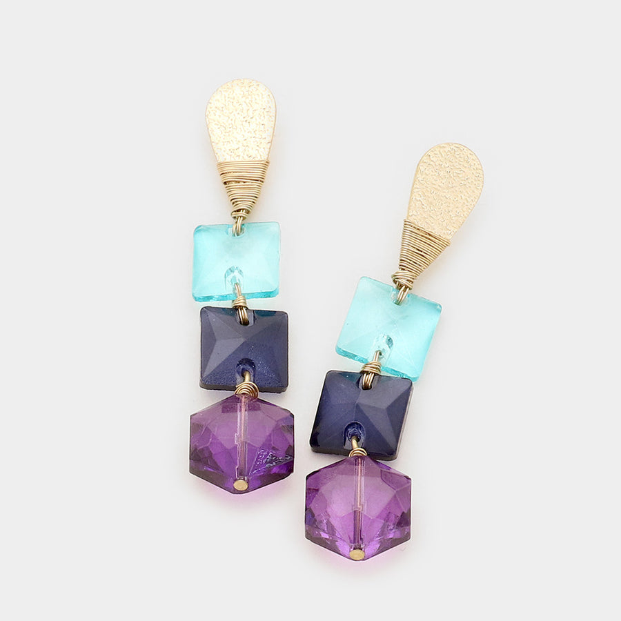 Raising The Bobbles Dangle Earrings - Blue Mix
