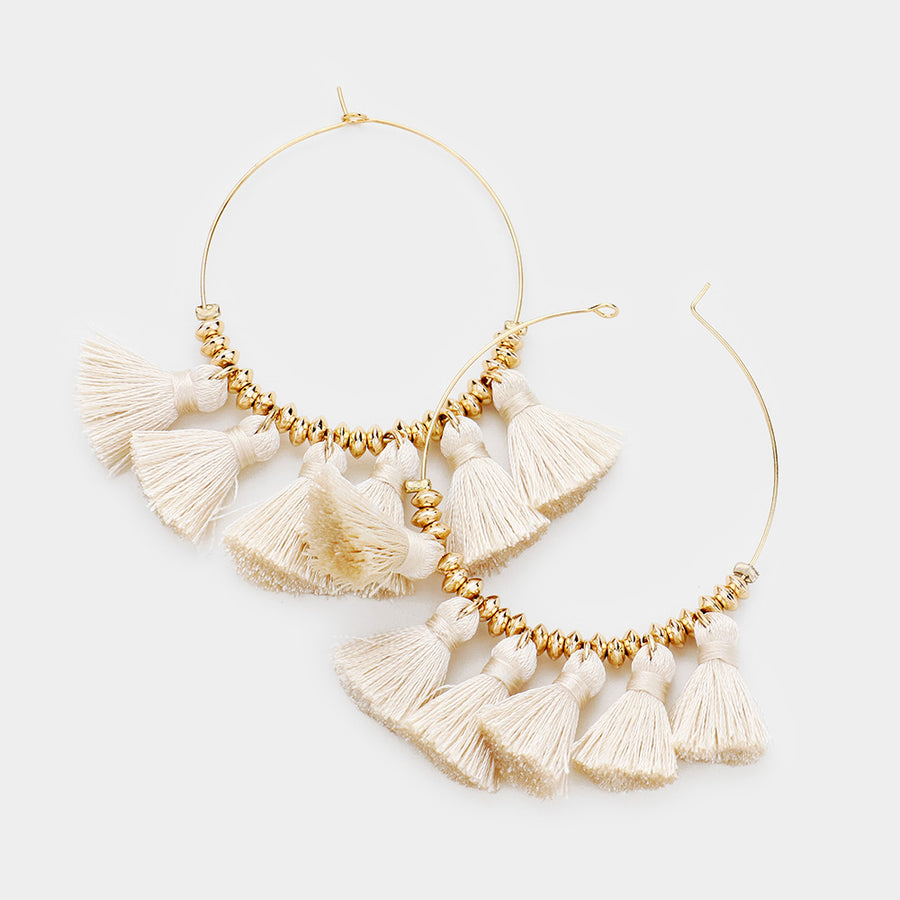 Fanning Tassels Hoop Earrings - Ivory