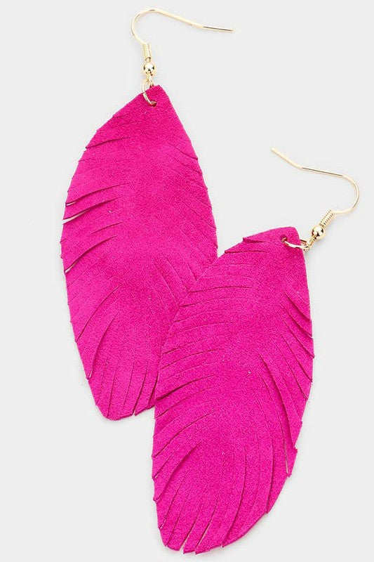 Leather Feather Earrings - Hot Pink