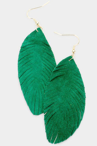 Leather Feather Earrings - Green