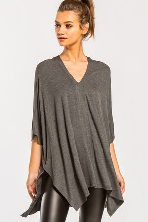 Sunday Drive Poncho Tunic Top - Charcoal