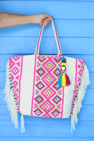 Multi-Color Beaded Jacquard Bag