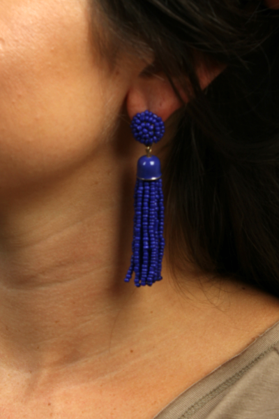 Tassel Drop Earrings {Royal Blue}