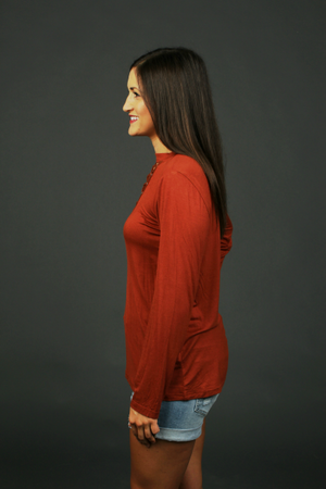 Rope V-Neck Long Sleeve Tee