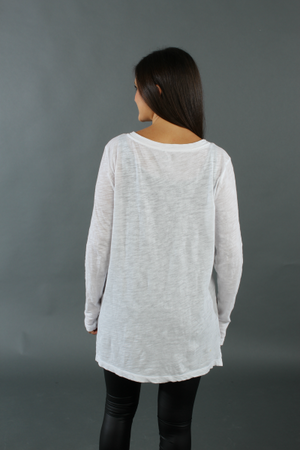 Long Sleeve Slub V-Neck Tee - White