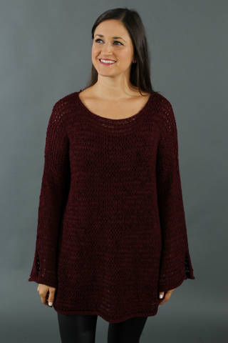 Bell Sleeve Sweater - Burgundy