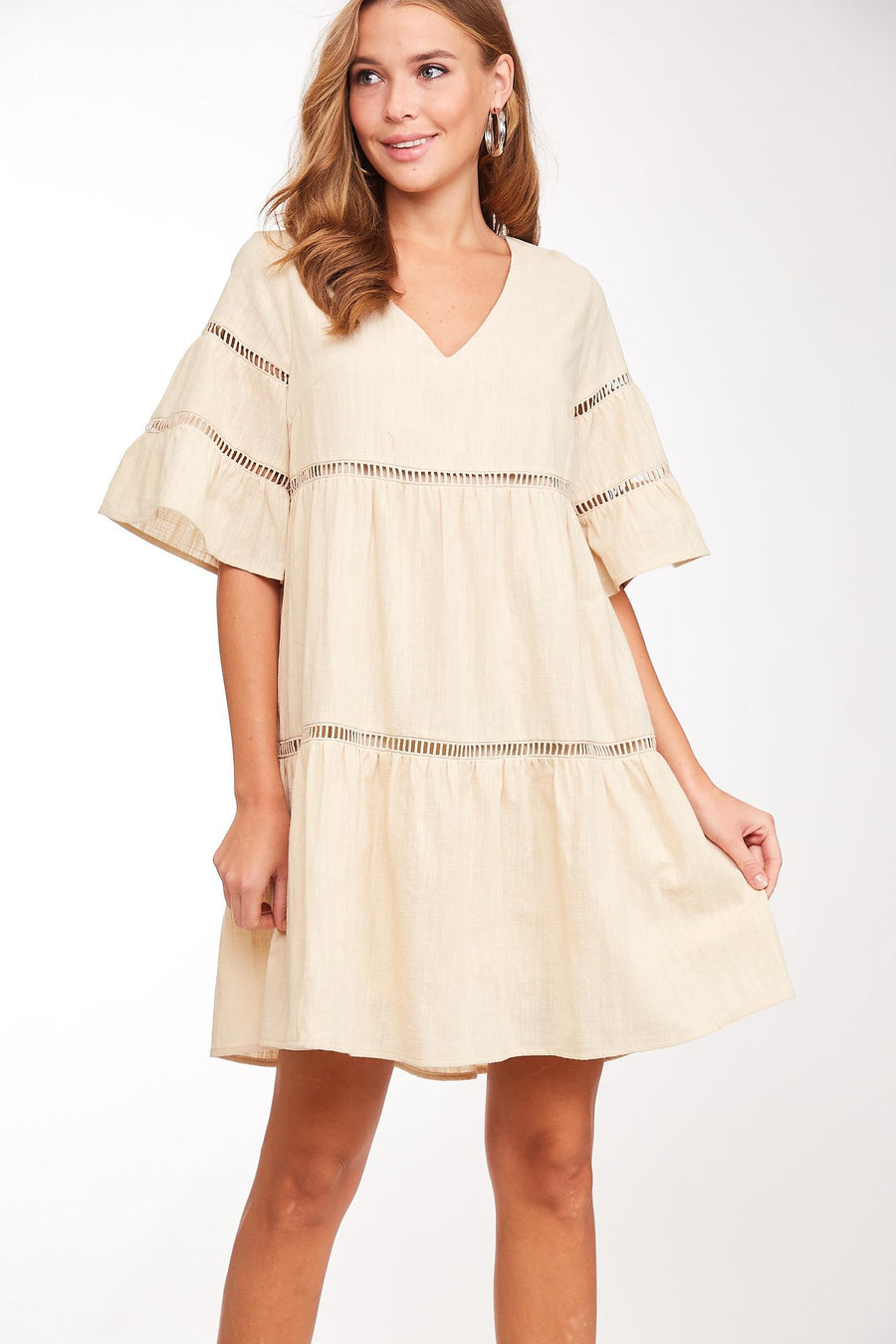 Sweetness Taken Ruffled Dress - Tan