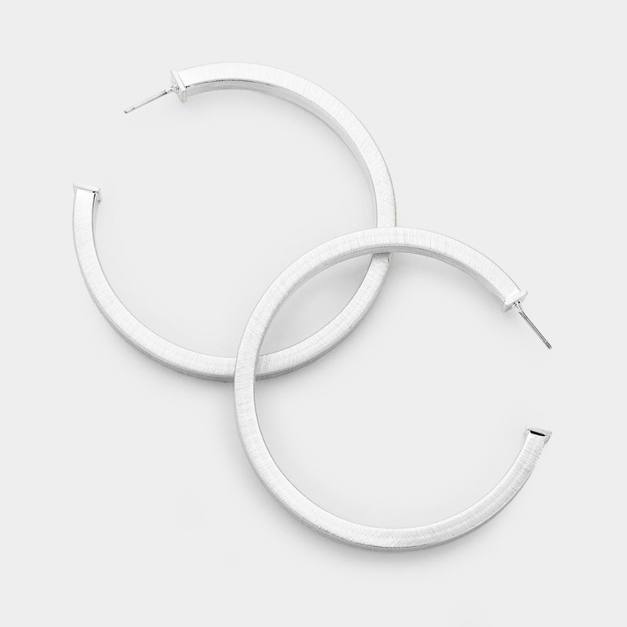Squaring Off Hoop Earrings - Silver