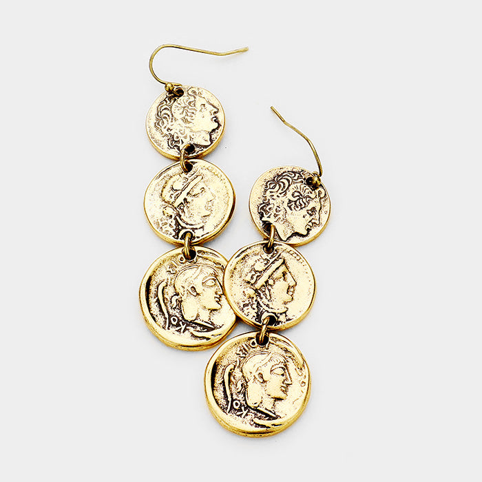 Caesar Triple Drop Earrings - Gold Burnished