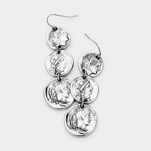 Caesar Triple Drop Earrings - Silver Burnished