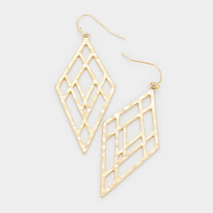 Seeing Into Reflections Hammered Earrings - Worn Gold