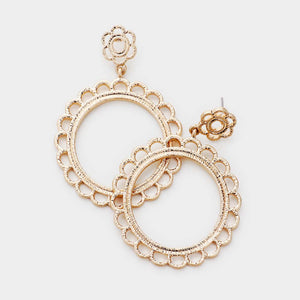 Fields of Flowers Hoop Earrings - Worn Gold