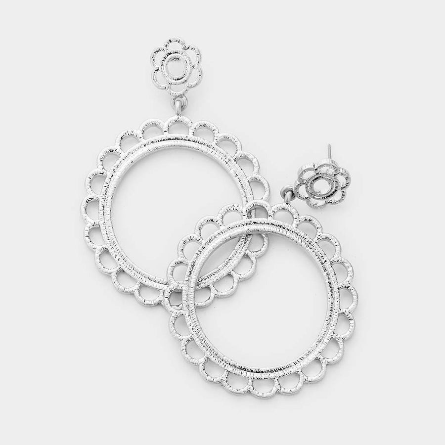 Fields of Flowers Hoop Earrings - Worn Silver