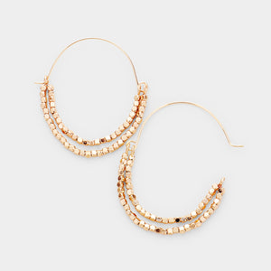 Half Hanging Metallic Beaded Earrings - Worn Gold