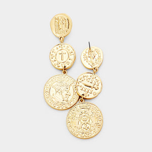 DeLuna Drop Coin Statement Earrings