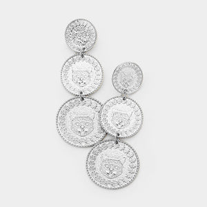 Coined Drop Statement Earrings