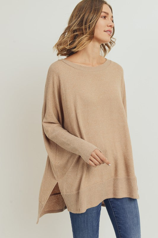 Its A Must Hi-Low Tunic Top - Taupe