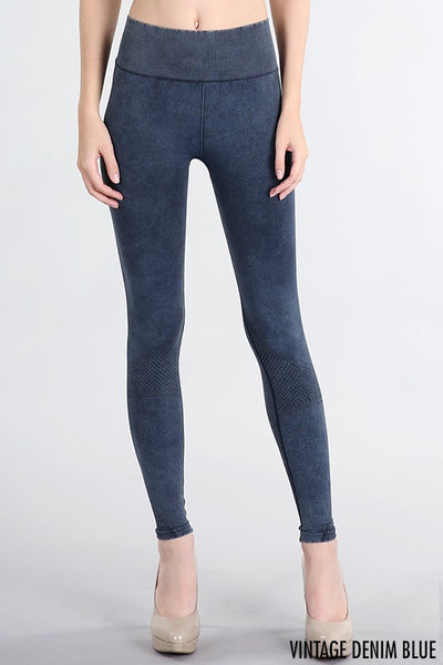 Textured & Detailed Vintage High Waisted Leggings