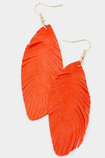Leather Feather Earrings - Orange