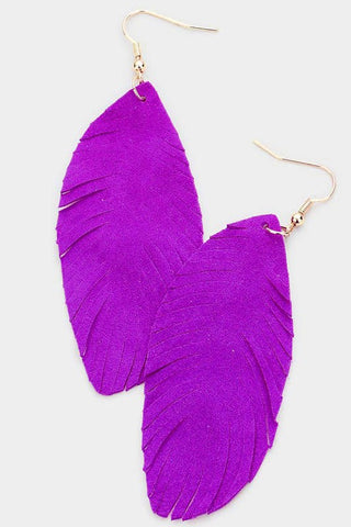 Leather Feather Earrings - Purple