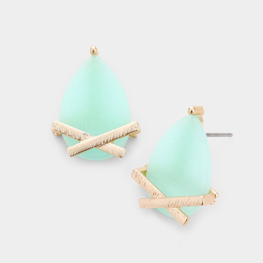 Marbled Drops Stud Earrings - Mint