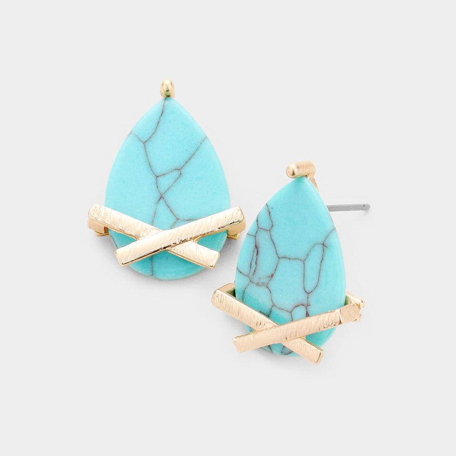 Marbled Drops Stud Earrings - Turquoise