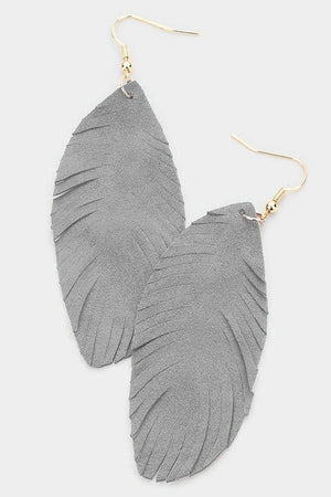 Leather Feather Earrings - Silver Grey