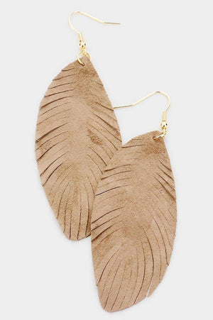 Leather Feather Earrings - Tan
