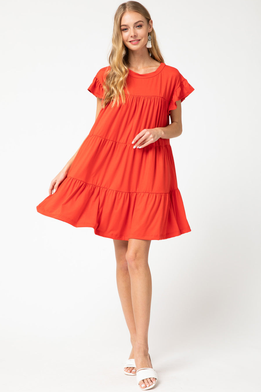 Sunny Days Are Here Tiered Dress - Tangerine