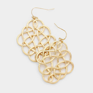 Woven Edges Dangle Earrings - Worn Gold