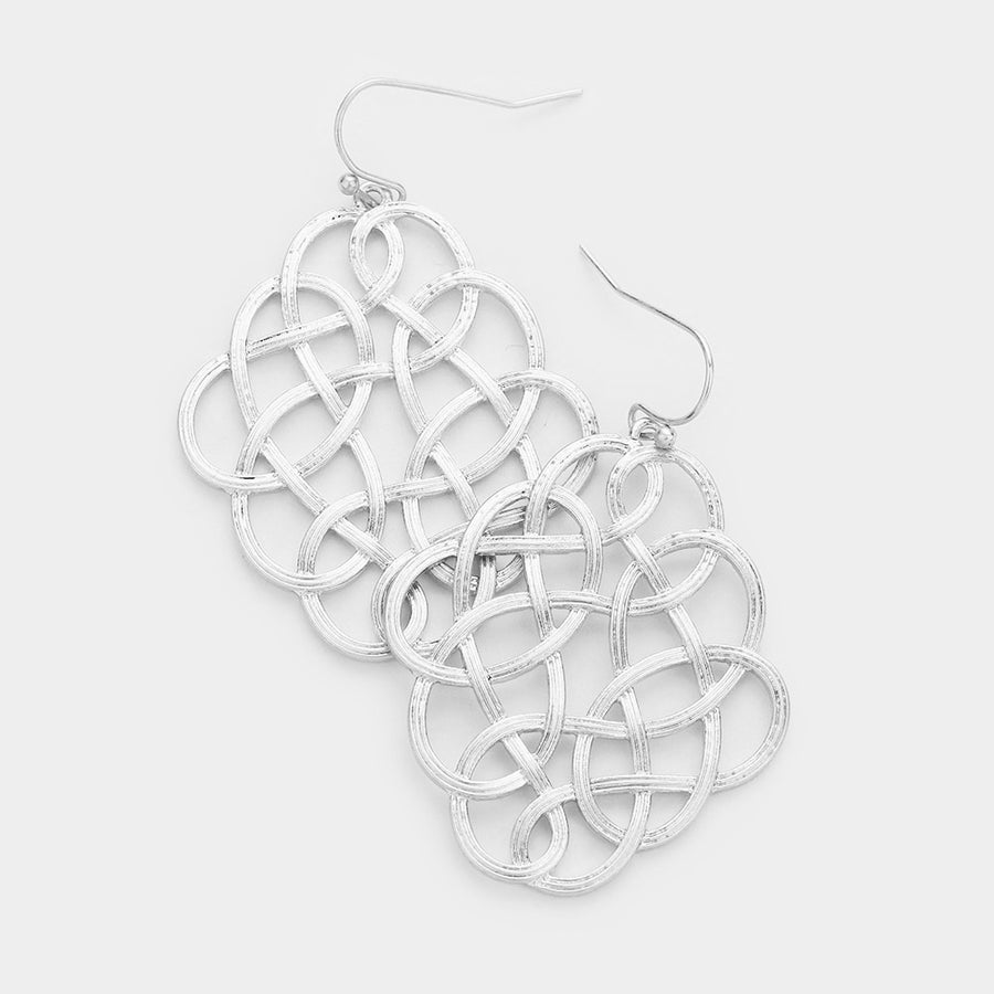 Woven Edges Dangle Earrings - Worn Silver
