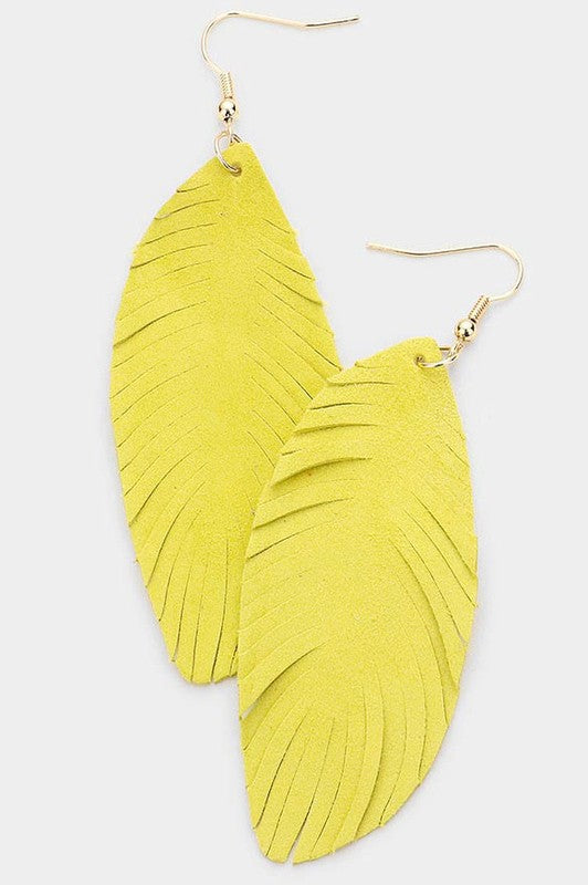 Leather Feather Earrings - Yellow