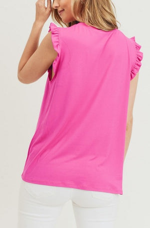 Savannah Ruffle Detail Top - Hot Pink