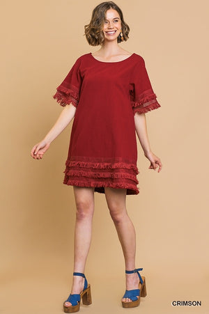 Layered Fringe Hems Dress - Crimson