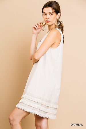 Fringe Benefits Dress - Oatmeal