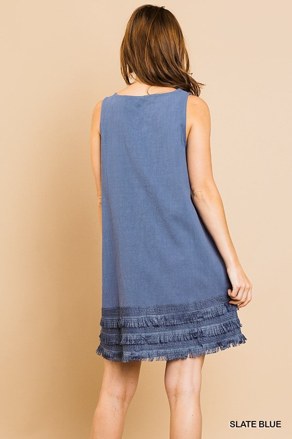 Fringe Benefits Dress - Slate Blue