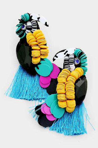 Sequined Fringe Parrot Earrings