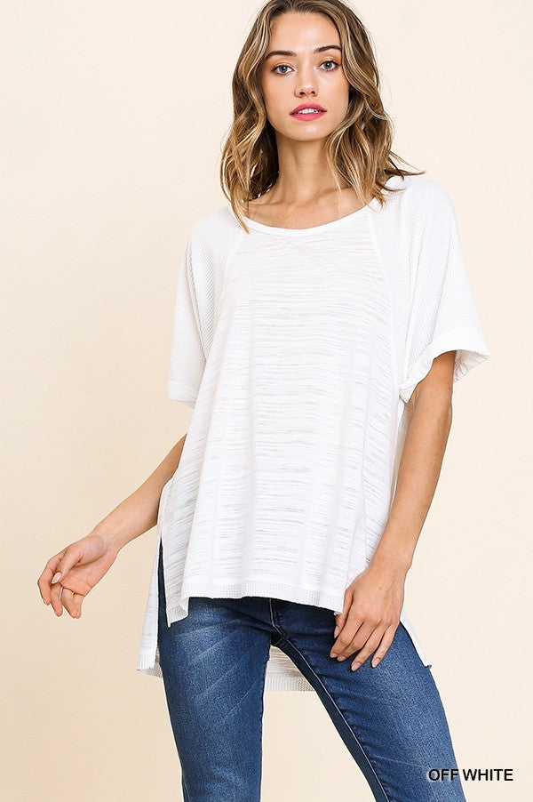 All or Nothing Waffled Slub Top
