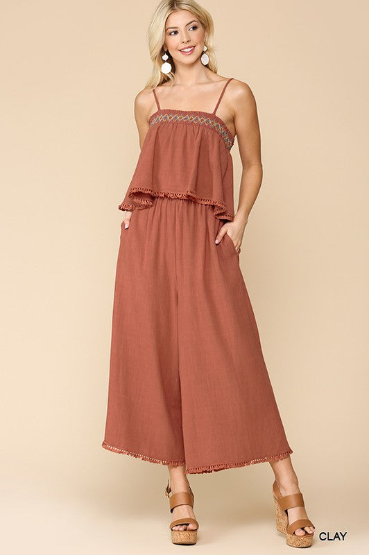Santa Monica Smocked Ruffled Jumpsuit