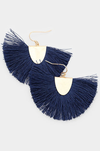 Fanning Fringe Earrings - Navy