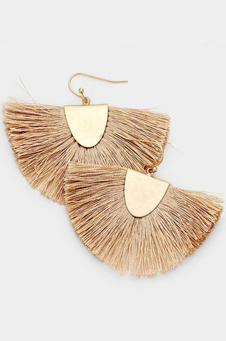 Fanning Fringe Earrings - Tan