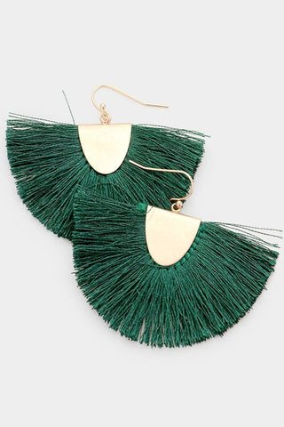 Fanning Fringe Earrings - Green